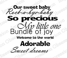 impression obsession rubber stamps baby phrases