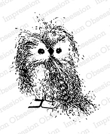 impression obsession rubber stamps feathery owl